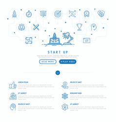start up concept template of web page vector image