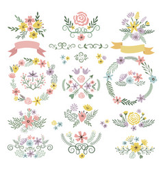 Sweet stickers and vintage labels floral elements vector