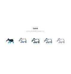 Tapir icon in different style two colored and vector