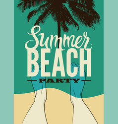 typographic summer beach party retro poster vector image