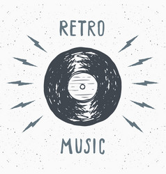 vinyl record vintage label hand drawn sketch vector image