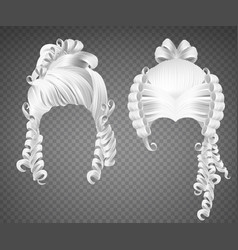 White curly girl wig women rococo hairstyle vector