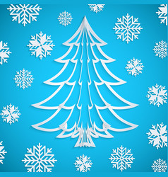 white paper christmas tree on blue vector image