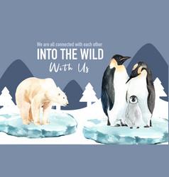 Winter animal frame design with polar bear vector