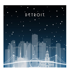 Winter night in detroit night city in flat style vector