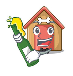 With beer mascot dog house of wood home vector