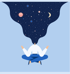 woman sitting in yoga lotus pose night starry sky vector image