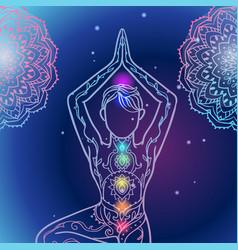 Yoga man ornament beautiful esoteric concept vector