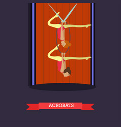 aerial acrobats in flat style vector image vector image