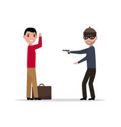 cartoon robber with a gun robbing a man vector image