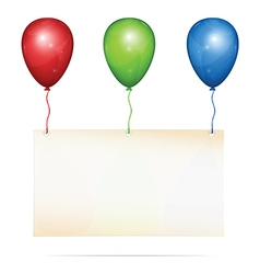 Greeting card on balloons vector image