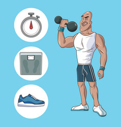 Healthy man athletic muscular weight scale sneaker vector
