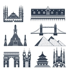 Landmarks And Monuments Black Set vector image vector image
