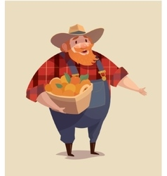 Middle aged man-farmer wearing denim with bucket vector