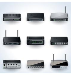 Network equipment icons vector image