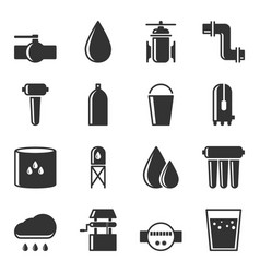 set of water supply icons for water sources vector image