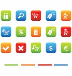 shopping icons 4 color set vector image