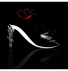 stylized shoe silhouette with butterfly vector image vector image