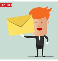 Waiter serving envelope vector image