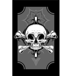White human skull with two bones tattoo vector image vector image