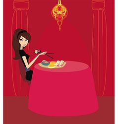 beautiful Asian girl enjoy sushi in restaurant vector image vector image