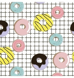 endless pattern with colorful donuts with vector image