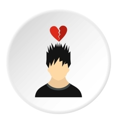Male avatar and broken heart icon flat style vector image vector image