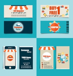 Modern business card template with business vector