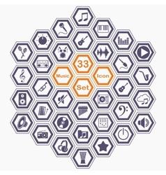 Polygon music icon set vector image