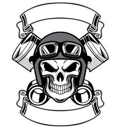 skull wearing retro motorbike helmet vector image vector image