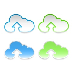 cloud stickers with arrows set of four vector image