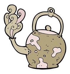 comic cartoon old tea pot vector image vector image