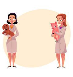 female veterinarians vets in medical coats vector image vector image