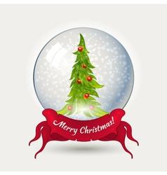 Glass ball with Christmas tree vector image