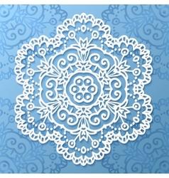 Ornate lacy white paper napkin vector image