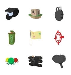 Paintball club icons set cartoon style vector image vector image