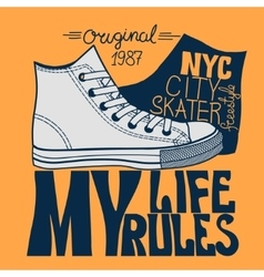 sneakers graphic design for tee vector image vector image