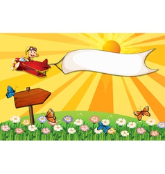 A monkey on a plane with a banner and a signboard vector image vector image