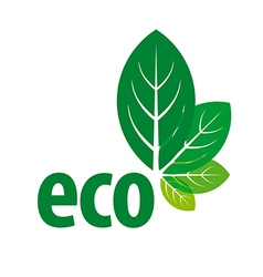 eco logo in the form of green leaves vector image