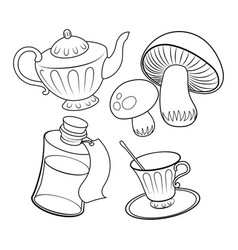 objects from fairy tale coloring book vector image