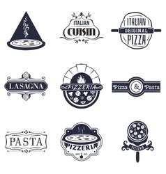 Retro italian cuisine restaurant labels logos and vector image