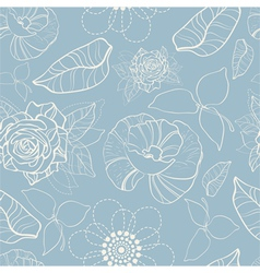 seamless texture with flowers and butterflies vector image vector image