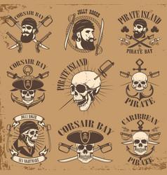 set of pirate emblems on grunge background vector image