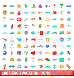 100 beach vacation icons set cartoon style vector image