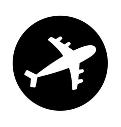air plane round icon black silhouette shape vector image
