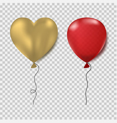 balloons set red oval and gold heart form vector image
