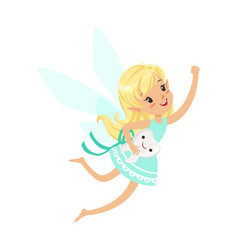beautiful sweet blonde tooth fairy girl flying vector image