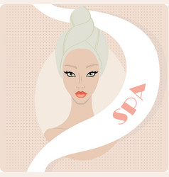 beautiful woman keep hair wrapped in a towel spa vector image
