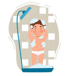 Boy takes a shower childrenes hygiene vector
