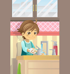 boy washing hands vector image